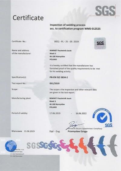 Certyfikat EN3834 NIWMET